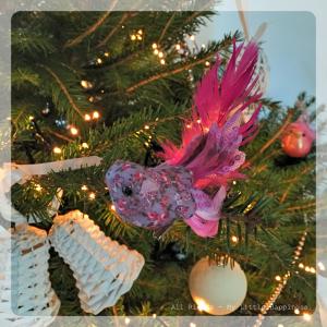 Kerstboom vogeltje paars