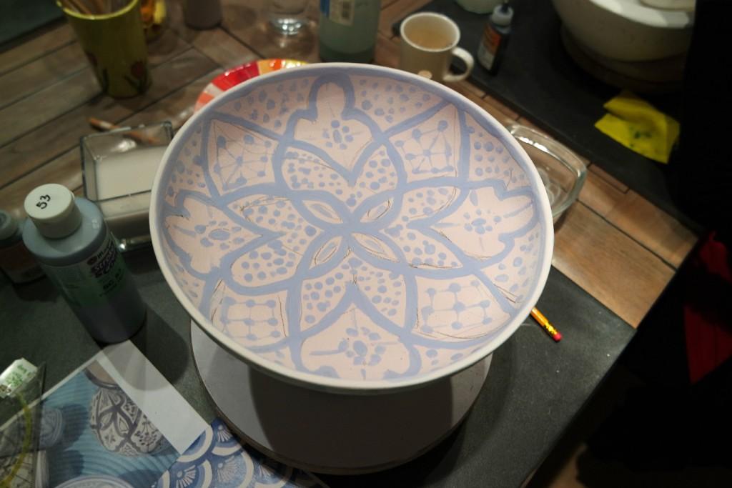 binnenkant beschilderd servies