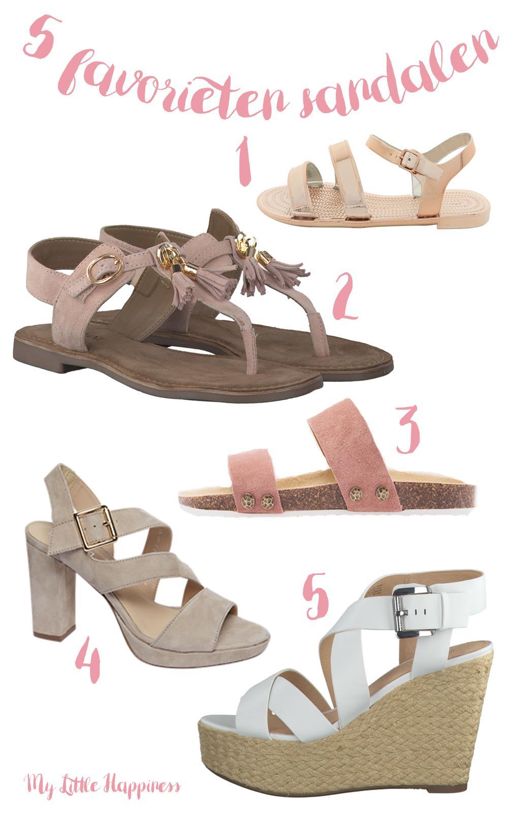 vijf favorieten sandalen