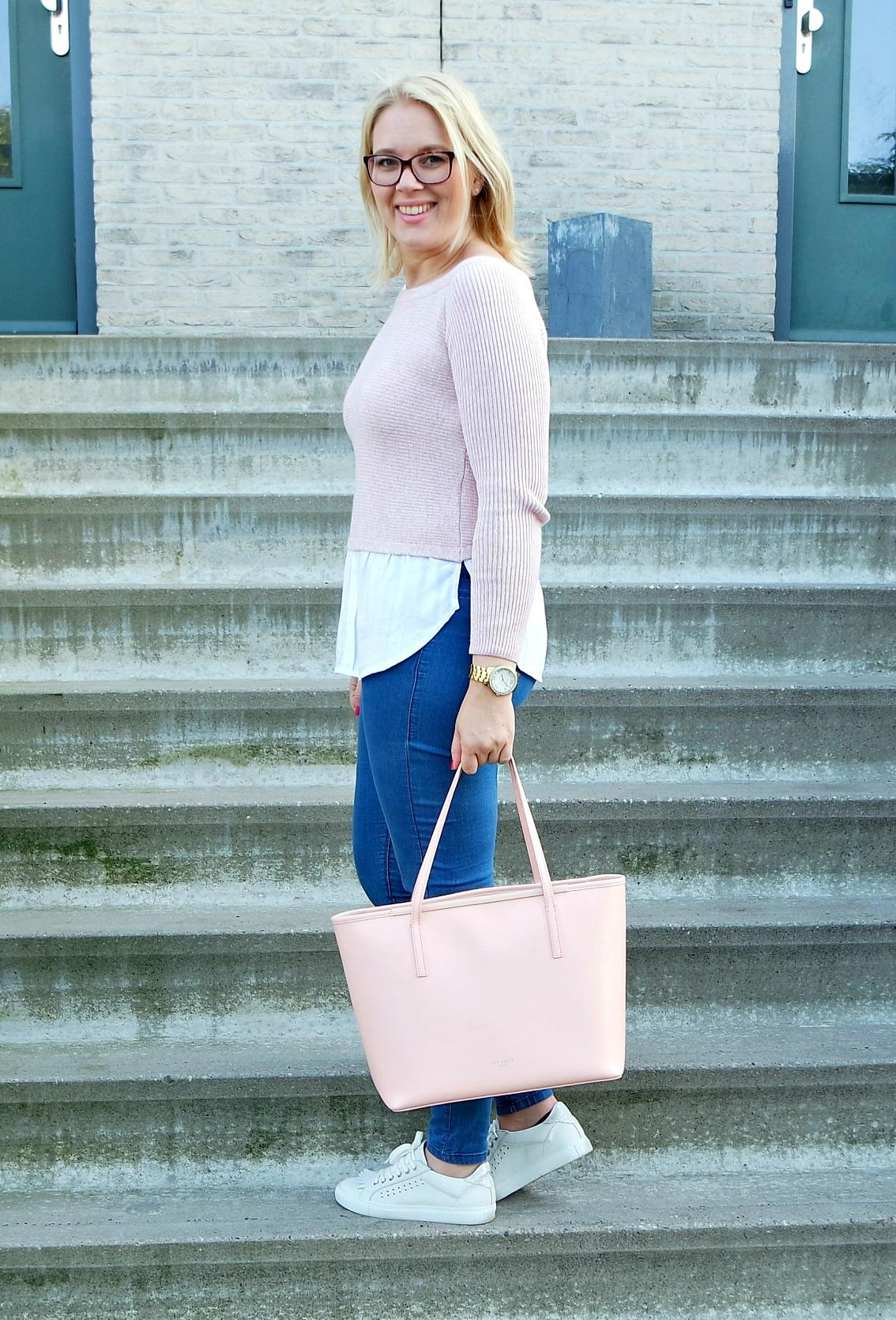 outfit Pink lover New Ted baker bag, via vai schoenen, River Island Top, Happiness boutique ketting 2