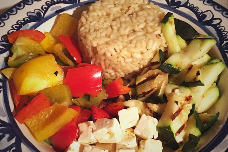 Gegrilde groente met truffelrisotto en feta