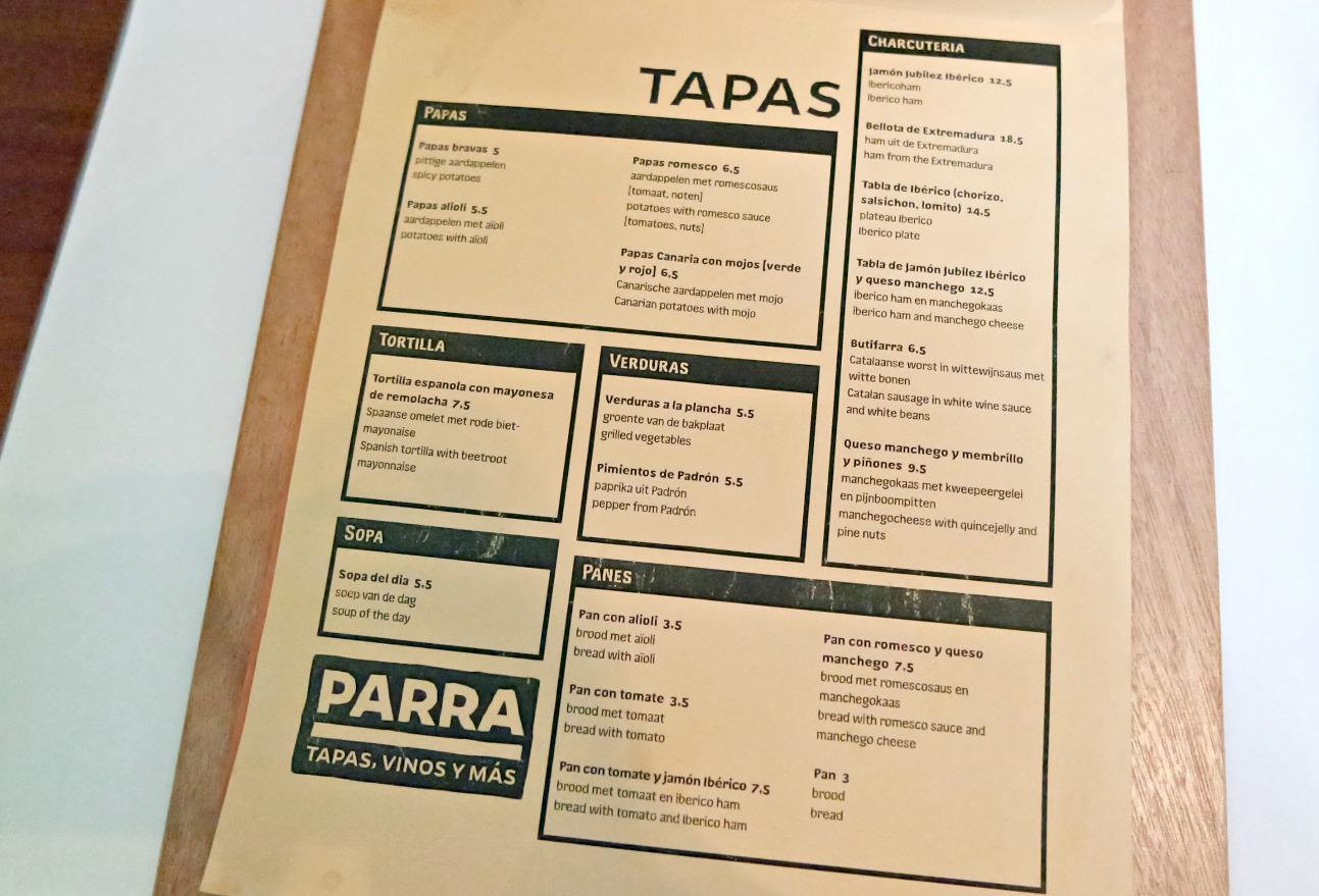 Restaurant Parra Amsterdam Menukaart