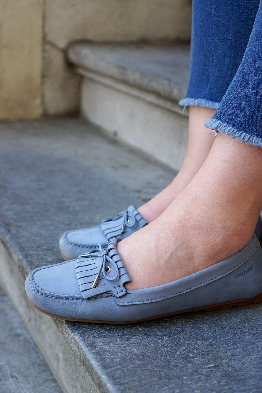 Outfit | Sebago harper kil tie LT blue | Blue Loafers