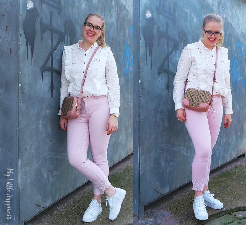 roze lente outfit gucci tas ted baker roze jeans