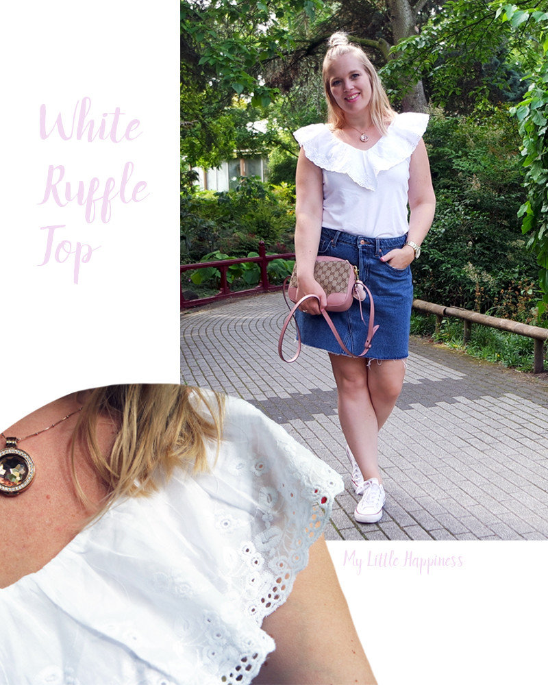 H&M Sale outfit white ruffle top