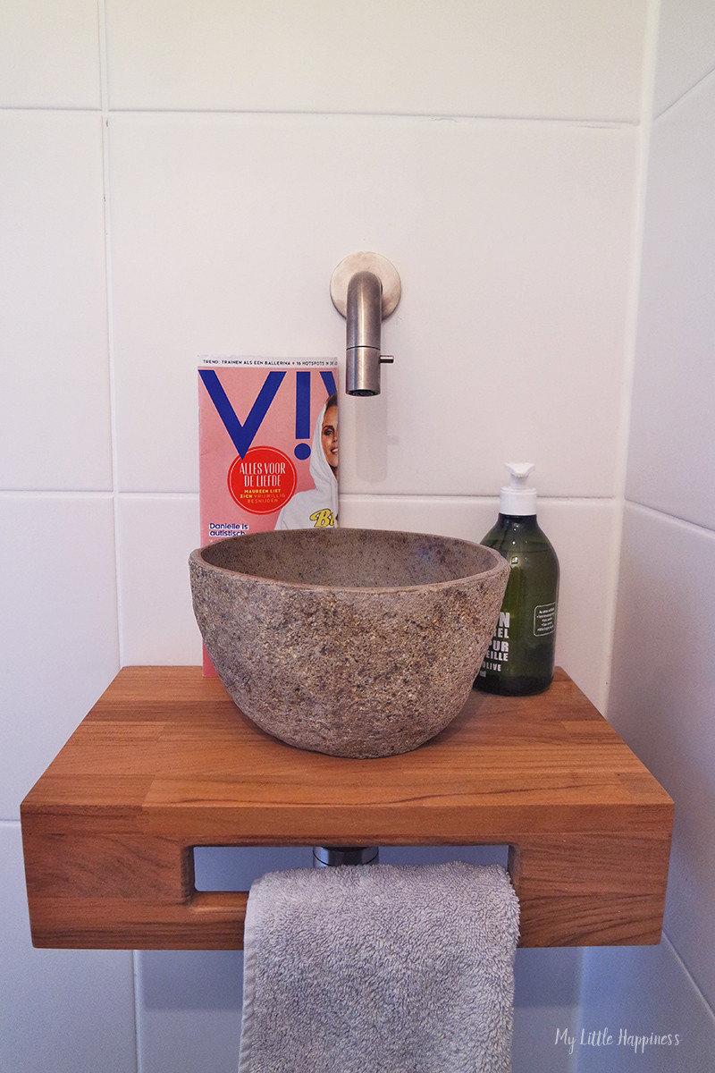 Wasbak toilet hout met kom
