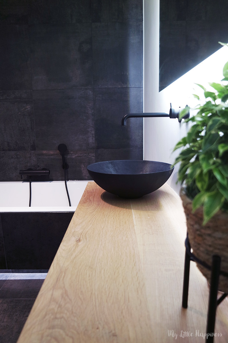 Looox waskom mat zwart keramiek - industriële badkamer